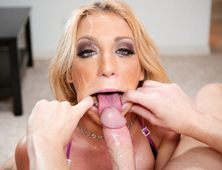 Filthy Blonde Amy Brooke Takes Load Deep Down Her Throat!